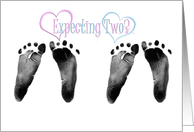 Twins Pregnancy Congratulations - twin baby footprints on white card