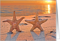 Starfish honeymooners on a sunset beach for newlyweds card