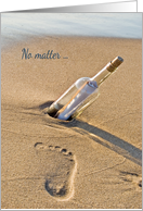 Romance - Footprint in sand with message in a bottle card