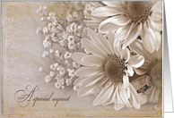 Bridesmaid request with daisy bouquet in sepia tones and texture card