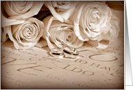 wedding rings with rose bouquet with sepia frame card