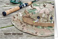 Birthday for him- fishing hat and pole card