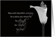 Sympathy butterfly in calla lily in black and white card