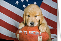 Birthday for Him - golden retriever on a football with American flag card