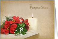 Christmas wedding bouquet card
