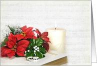 Christmas wedding, 'Bible, Rings and Poinsettias card