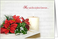poinsettia wedding bouquet card