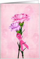 pink ribbon bouquet card