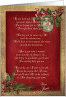 Christmas inspirational verse with ornaments and ribbon card