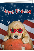 Birthday-Golden Retriever with star sunglasses on a football with flag card