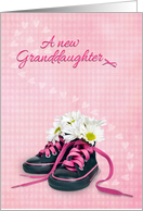 New Granddaughter - daisy bouquet in little girl sneakers on gingham card