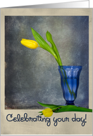 Name Day with yellow tulip in blue vase card