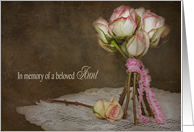 Loss of Aunt sympathy-rose bouquet on vintage doily card