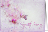 70th Anniversary-pink orchids with butterfly and bubbles card