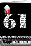 61st birthday-red, white and black balloon bouquet on black card