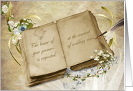 wedding vow renewal invitation with vintage book, quill and bouquet card