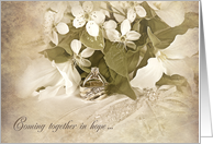 Son's Wedding-wedding ring with trillium bridal bouquet on pillow card