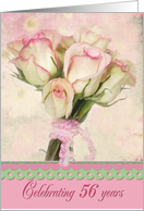 56th birthday-rose-pink-bouquet card