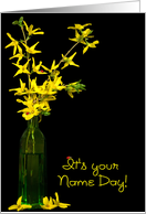 Name Day - forsythia in green vase with lady bugs card