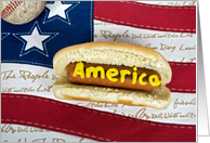 hot dog-patriotic-flag-American-baseball-invitation card