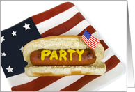 4th of July-hot dog-patriotic-flag-American-barbecue card