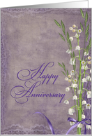 Anniversary for parents with lily of the valley bouquet card