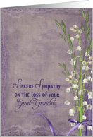 great grandmother, sympathy, lily of the valley, purple, flower, bouquet card