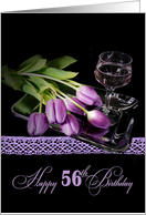 56th birthday-purple tulips on silver tray with wine glass card