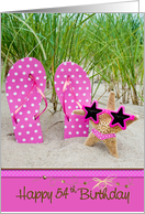 54th birthday, beach, sunglasses, humor, flip-flops card