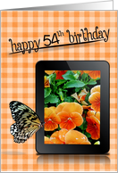 54th Birthday with butterfly pansy image on electronic tablet card