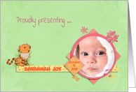 photo card, baby girl, announcement, adoption card