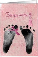 baby girl announcement-footprints with pink bow and ballerina slippers card