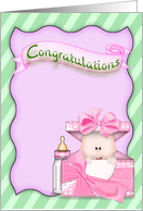 new Granddaughter Congratulations-baby girl in box with banner card