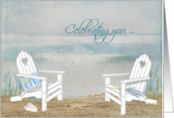 Birthday-beach chairs in sand with seashells, flip-flops and starfish card