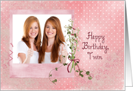 Twin Sister's Birthday - lily of the valley bouquet photo card