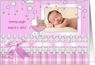 Baby Girl photo card with pink bow and lace ribbon card