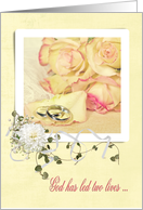 daughter's wedding with rings and roses card