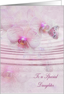 Daughter's birthday-butterfly on orchid and bubbles with water ripple card