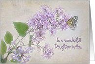 butterfly on lilacs for daughter-in-law's birthday card