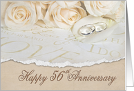 56th anniversary with roses and rings card