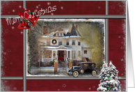Christmas for parents with Victorian house and old car in snow card