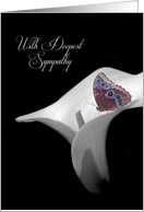 Sympathy loss of Sister with butterfly in white calla lily card