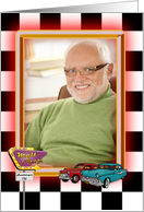 birthday photo card with retro cars and neon old diner sign card
