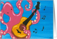 Octopus Playing Guitar Birthday Greeting card
