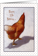 Happy 55th Birthday To Someone Who's Still A Spring Chicken, Pastel card