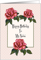 Happy Birthday To My Nana: Pink Roses, Dots: Color Pencil Art card