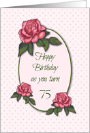 Happy 75th Birthday: Pink Roses, Tiny Pink Dots: Color Pencil Art card