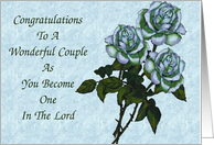 Wedding Congratulations: White Roses: Christian card
