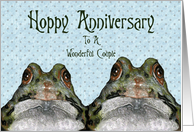 Cute Frogs: Hoppy Anniversary to Couple: Original Art card