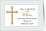 50th Anniversary Invitation of Religious Life-Golden Jubilee-Cross card